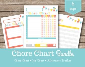 Chore Chart / Sadie / Kids Chore Chart / Printable Chore Chart / Reward Charts / Kids Chores / Allowance Tracker