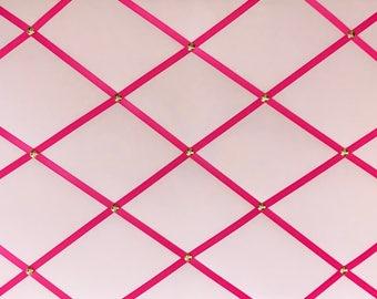 Pale Pink Fabric Memory Board/ Pink Ribbon Board, Pink Photo Board,  Pink Bulletin Board