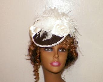 Fascinator Victorian Brown Cream Ivory Color Hat  Feather Gothic Steampunk Lolita Bridal Headpiece Old West  Marie Antoinette