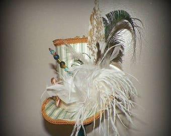 On Sale- Top Hat Mini Green Cream Off White Fascinator Mad Hatter Gothic Cosplay Costume Steampunk Bridal Kentucky Derby Wonderland Tea Part