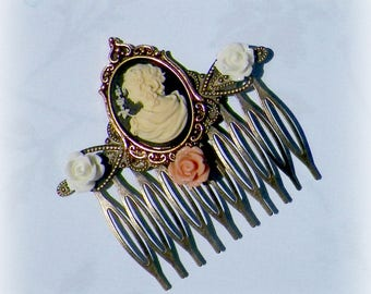 Victorian  Hair Comb Cameo Vintage Style Bridal Rose Gyspy Boho  Steampunk Wedding Gothic Bohemian Reproduction