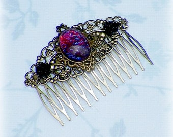 Hair Comb Dragons Breath Victorian Vintage Style Gothic Bridal Black Rose Gyspy Boho  Steampunk Wedding Gothic Bohemian