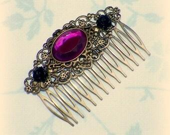 Victorian Hair Comb Vintage Style Pink Gothic Bridal Black Rose Gyspy Boho  Steampunk Wedding Gothic Bohemian