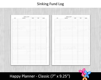 HP Classic: Sinking Fund Log • Budget Binder Printable Page Insert for Happy Planner Classic sized Disc or Ring Bound Planners