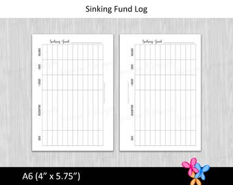 A6: Sinking Fund Log • Budget Binder Printable Page Insert for A6 sized Disc or Ring Bound Planners • INSTANT DOWNLOAD