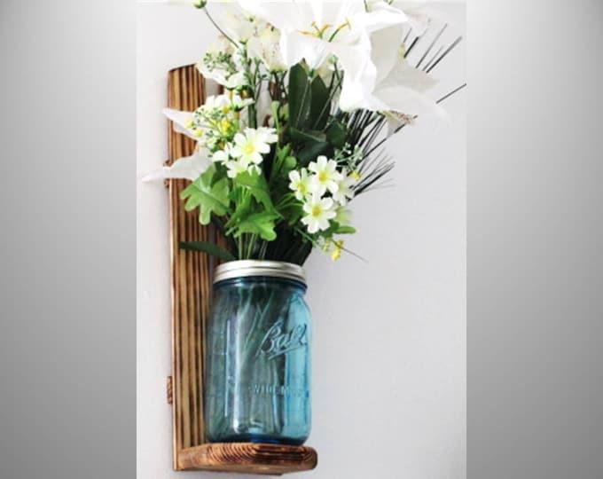 Mason Jar Wall Sconce Blue Quart
