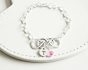 Double Infinity Bracelet, Infinity Gift, Infinite Bracelet, Infinity Initial Bracelet , Gift for Bridesmaids, Mother of the groom bride Gift