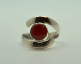 Beautiful silver plated and coral ring set