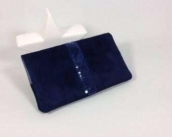 Checkbook women Navy Blue Suede and glitter