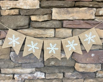 Snowflake banner, Christmas banner, Winter banner, Christmas decoration, Photo prop, Winter decor, snowflake burlap banner, glitter banner