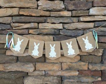 Easter Burlap Banner, Easter Garland, Easter Decor, Easter Decoration, Easter Photo Prop, Easter Bunting, Easter Banner, Easter Bunny Tails