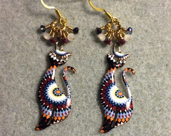 Dark red, white and blue enamel cat charm earrings adorned with tiny dangling dark red, white and dark blue Chinese crystal beads.