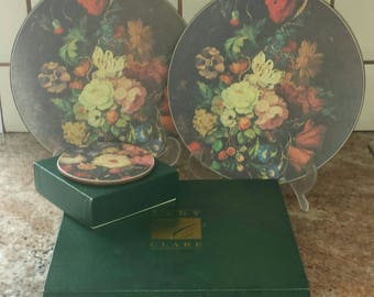Vintage Boxed Set of Round Placemats & Matching Coasters Dutch Floral