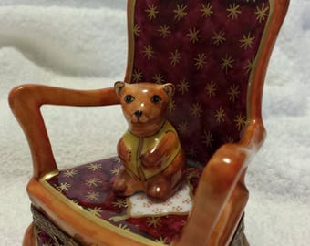 """Vintage Limoges Hand Painted """"Bear in a Chair"""" Trinket Box- Rare Collectible"""