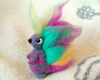 Vera Fuzzy Butt - OOAK needle felted decorative doll figurine