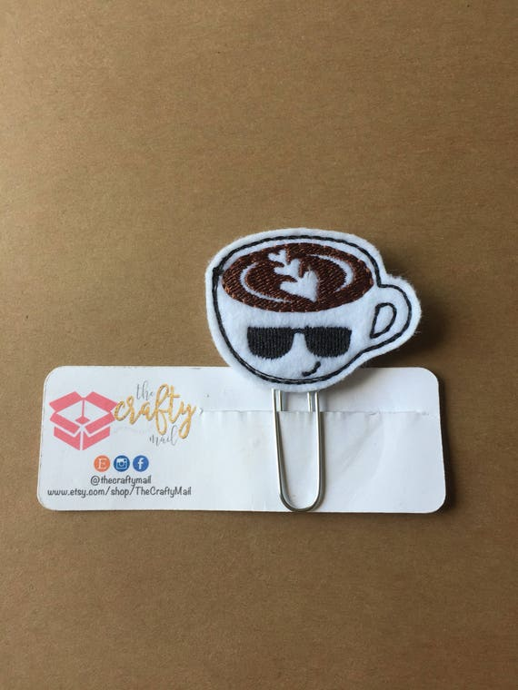 Cool Coffee Clip/Planner Clip/Bookmark. Coffee cup planner clip