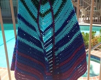 Multicolor Shawl, Crochet Shawl, Handmade Accessory, Green Shawl, Blue Shawl, Summer Jacket, Summer Wrap, Purple Shawl, Striped Shawl