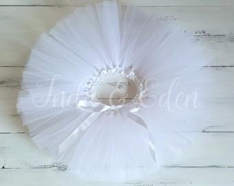 White Tutu Baby girls birthday wedding christening photo prop cake smash baby toddler skirt