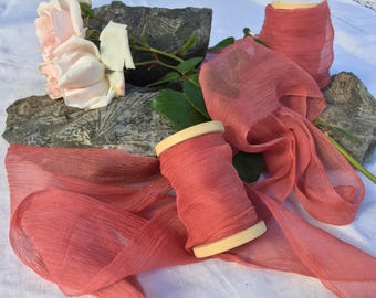 ANTIQUE ROSE hand dyed silk ribbon / sheer ribbon / plant dyed / eco dyed / wedding ribbon / styling ribbon / photo prop / pure silk ribbon