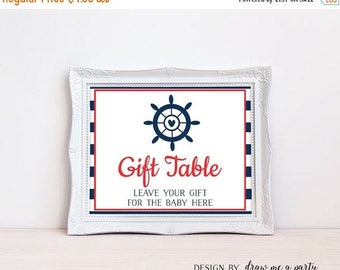 Nautical Gift Table Sign , Nautical Theme , Nautical Baby Shower Gifts Sign , Nautical Sign , Navy Blue and Red , Printable Instant Download