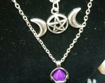 Triple Moon Necklace, Triple Moon Pentagram Purple Crystal Necklace, Purple Crystal Necklace, Double Chain Necklace, Triple moon, Pentagram