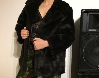 Vintage faux fur dark brown coat jacket statement piece