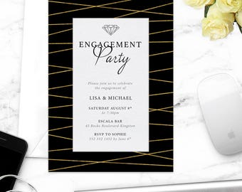 Engagement Party Invitation / Printable Party Invite / Diamond Engagement Party Invitation / Elegant Gala Night Invitaion