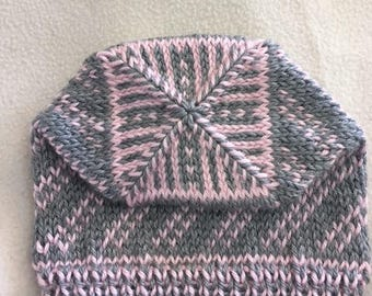 Hand Knit Pink and Gray Baby Hat