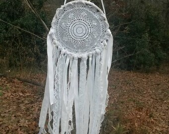 White Lace Bohemian Dream Catcher