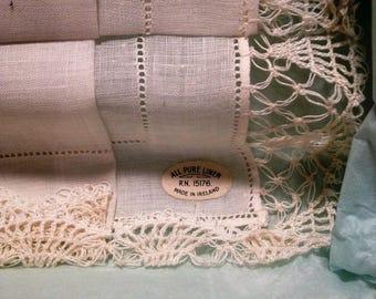 Vintage Ladies Handkerchief, Unused, Original HC Prange Box, Linen