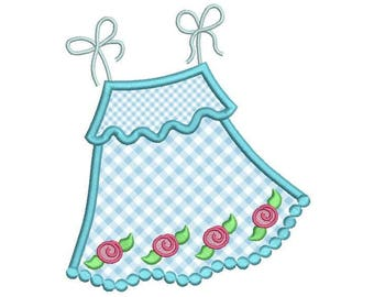Cute Baby Dress Applique Embroidery Design, Sun Dress Applique, Girl's Dress Machine Embroidery, 3 sizes, Instant Download,  No: SA568-1