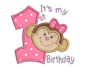 Girl's 1st Birthday Monkey Applique Machine Embroidery Design, First Birthday, Cute Monkey, 4x4, 5x7, 6x10, Instant Download, No: SA510-56