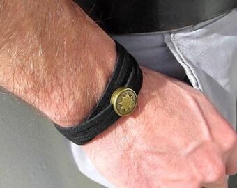 Mens bracelet, men jewelry, men gift, black bracelet, statement bracelet, bronze tones, slide Sun.