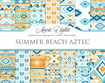 Beach Aztec Digital Paper. Scrapbook Backgrounds. Aztec patterns, tribal backgrounds, native, orange and blue boho seamless patterns