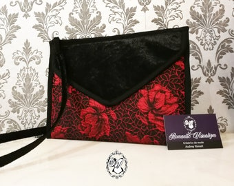 Silk and velvet pouch