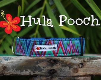 """Dog Collar """"Zig Zag"""" Purple Fuchsia Turquoise  Orange Hot Pink - Medium, Large, Wide, Adjustable // FREE SHIPPING"""