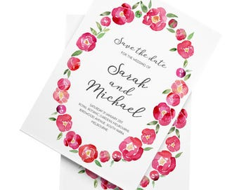 Spring Peonies - A5 Save the Date - Personalised & Printable