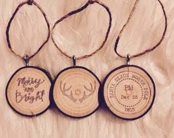 Wood tree ornament set of 3