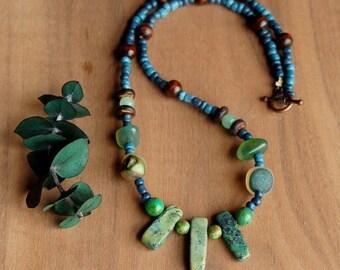 Boho Necklace, Stone and Wood Necklace, Beaded Necklace