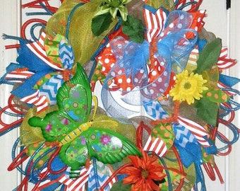 Spring wreath for door, Butterfly wreath, Spring wreath, Summer wreath, butterfly door hanger, mesh wreath