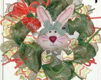Easter bunny wreath, burlap bunny wreath, large Spring wreath, Spring door hanger, Easter wreath, rustic Easter wreath