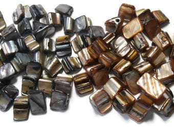 assortment of pearl beads, Brown and grey Sheen, 15cm of each
