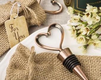 Wine Wedding Favors (24 pieces) Copper Heart Wine Bottle Stopper, Copper Bottle Stopper Wedding Favors