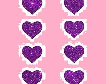 8 Mini Purple  Hearts Nipple & Body Pasties Nipple Covers  BOGO Free