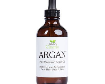 Isabella's Clearly ARGAN, 2 Oz, Pure Moroccan Argan Oil to Protect, Heal, Moisturize, and Nourish Skin, Hair, and Nails.