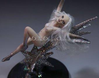 "Mini 5"" OOAK Sculpture Silver Shooting Star Pixie Fae Fantasy Art Doll Handmade Clay Figurine Realistic Fairy Lifelike Original by BBD"