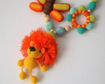 Busy Baby Toy, Nursing Necklace, Teething, Amigurumi Lion, Toddler Activity Toy, Waldorf Sensory Toy, Fine Motor Skills, Toddler Travel Toy
