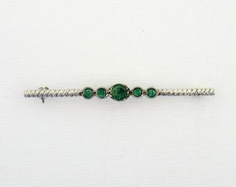 Art Deco Genuine Emerald SilverBar Pin / Brooch