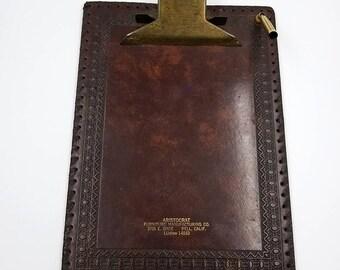 Rare Vintage Embossed Italian Leather Clip Board
