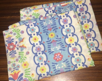 Pair of colorful vintage standard pillowcases